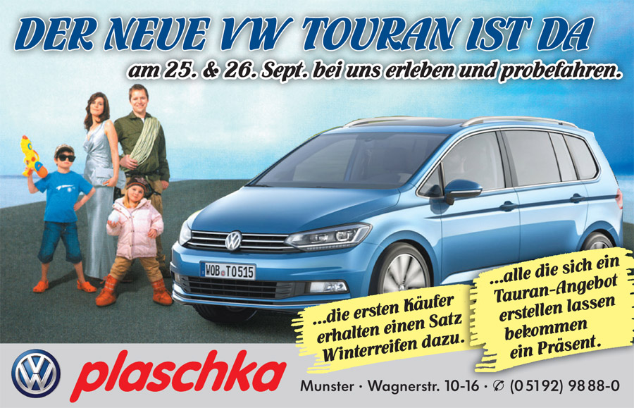 der neue vw touran ist da plaschka munster gmbh co kg. Black Bedroom Furniture Sets. Home Design Ideas